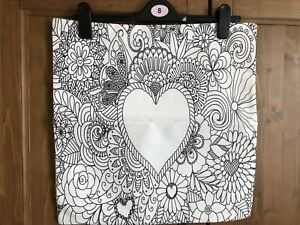 Large-Colour-Your-Own-Cushion-Cover-Hearts-And-Flowers-Design-45cm-New-White