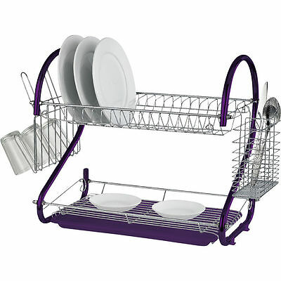 Purple 2 Tier Chrome Kitchen Dish Drainer Plates Rack & Glass Cutlery Holder