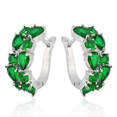 Green Emerald Hoop Dangle Drop Earrings Women's 10Kt White Gold Filled Wedding