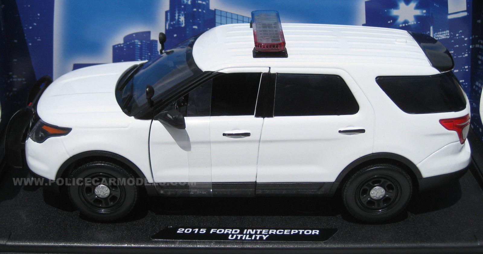 Motormax 1 18 Ford PI PI PI Utility Police SUV Blank White w  Lightbar   CASE OF FOUR  3a0076