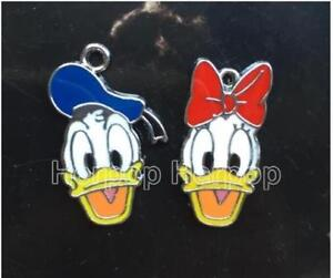 20pcs Cartoon Donald Duck Enamel Metal Charms Pendants DIY Jewelry Making Jewellery & Watches