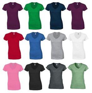 WHITE LADIES T-SHIRT Gildan 100/% Ringspun Cotton PLAIN T SHIRT Soft Touch Womens