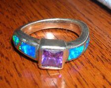 Beautiful Vintage Sterling Silver Ring ~ Blue Opal & African Amethyst ~ 925 sz 6
