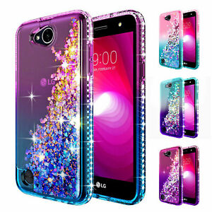 new style 9c605 3c7ff Details about LG Fiesta 2 / Fiesta LTE Case | Liquid Glitter Bling TPU  Cover + Tempered Glass