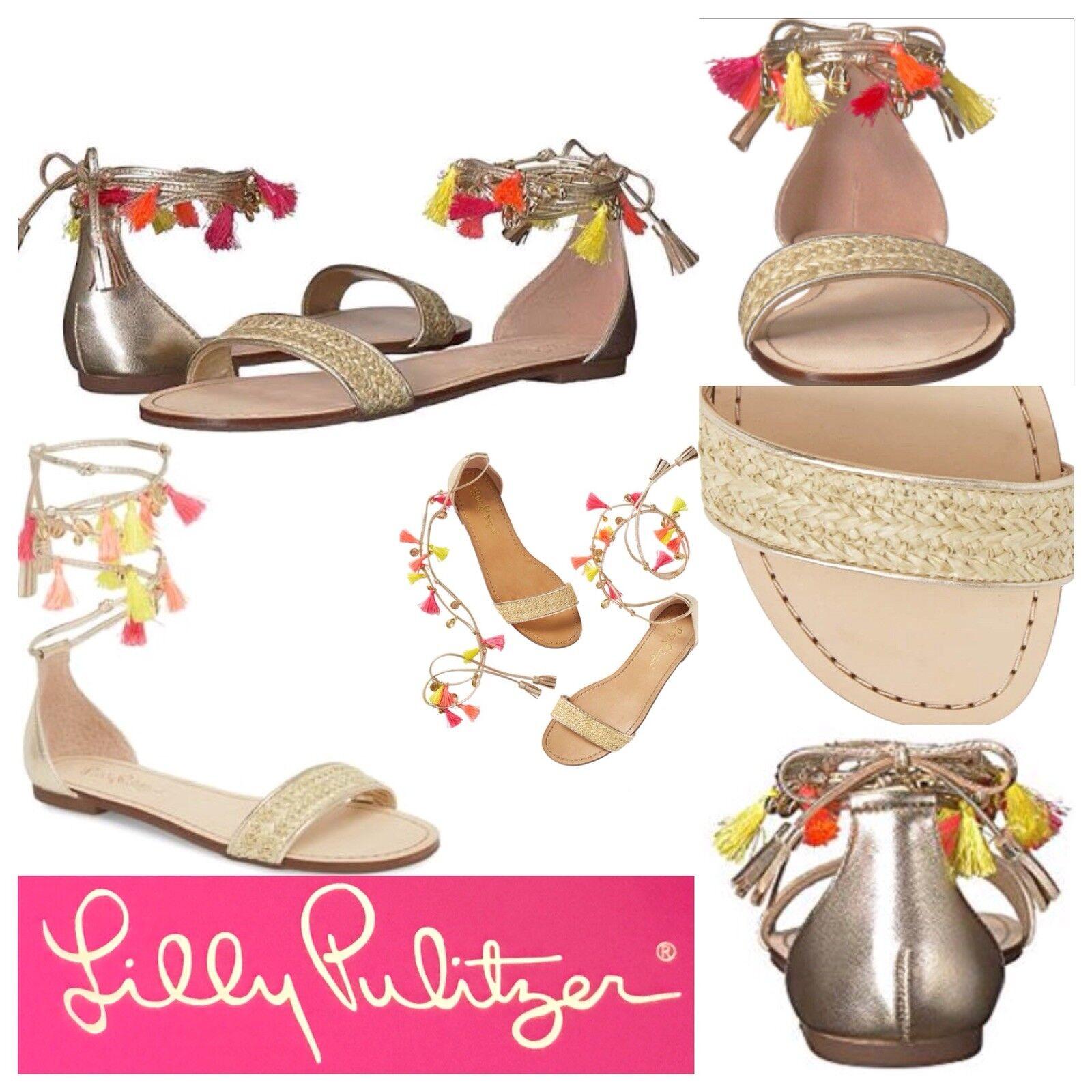 NIB  168 Lilly Pulitzer Willa Sandal oro Metallic Tassel Trim Ankle Wrap 8.5M