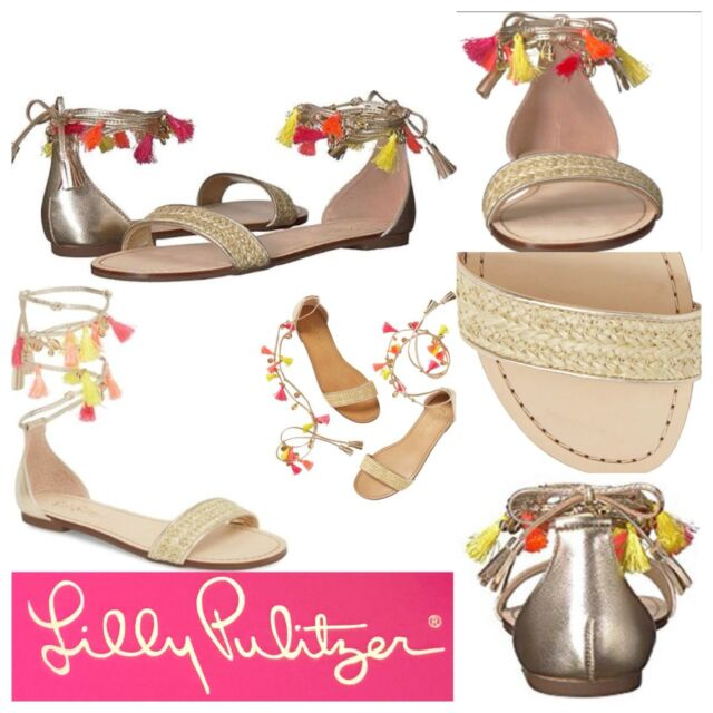 4bf743034 NIB  168 Lilly Pulitzer Willa Sandal Gold Metallic Tassel Trim Ankle Wrap  8.5M