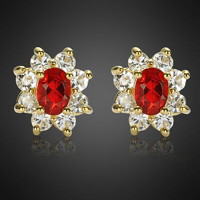 Xmas jewel Gift Sale Oval Cut Red Ruby Stone Yellow Gold Plated Stud Earrings