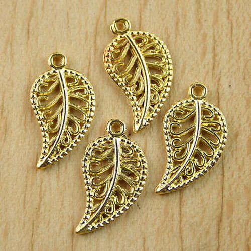 60 Pcs Gold tone  leaves charms findings h0478