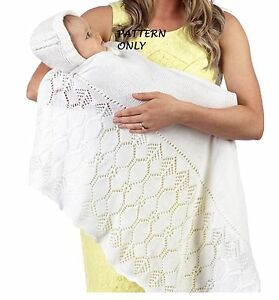 Knitting Pattern For Christening Shawl Free : Knitting Pattern - Lacy Heirloom Baby Christening Shawl Blanket eBay