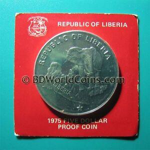 1975 Liberia 5 Dollars 98oz Silver Proof Elephant