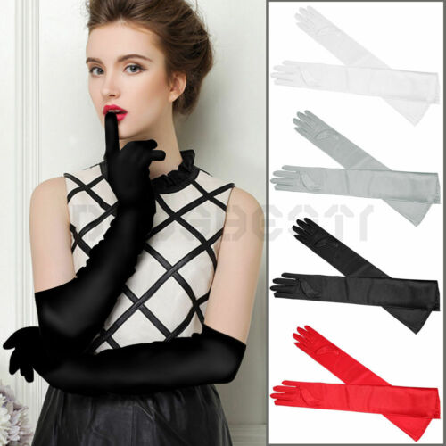 Womens Satin Long Gloves  Wedding Bridal Evening Party Prom Costume Gloves