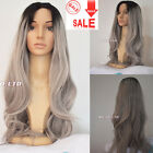 Women's Wigs Grey Synthetic Lace Front Wig Long Wavy Ombre Silver Gray Full Hair