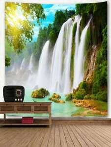 Waterfall River Tapestry Nature Print Wall Hanging Tree Bedspread Art Home Decor
