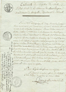 1816-large-birth-certificate-with-official-stamp-and-nice-calligraphy-signature