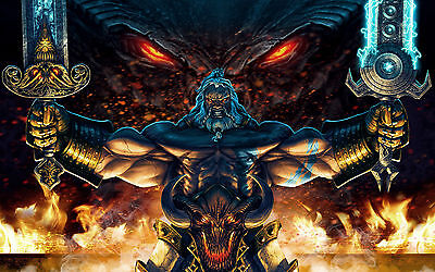A4 Poster – Massive Barbarian Swordsman Preparing to Fight a Fiery Demon (Print)