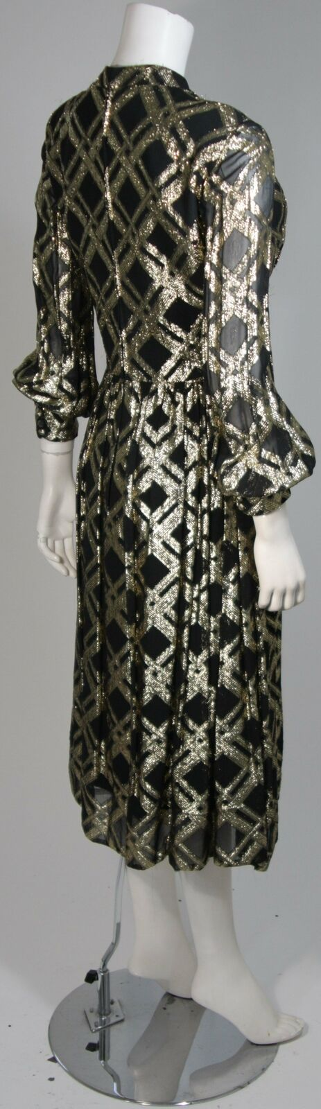 CEIL CHAPMAN Black Silk and Gold Cocktail Dress S… - image 7