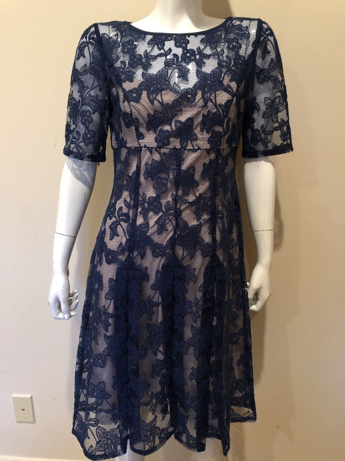 Adrianna Papell Lace Overlay Pleated Short Sleeve Sheath Sz 8 Dress NEW  169