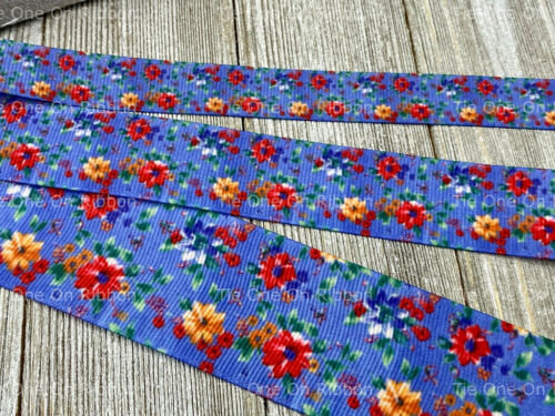Floral Denim Blue BTY COMBINED SHIPPING GROSGRAIN RIBBON 1.5 1 5//8 In