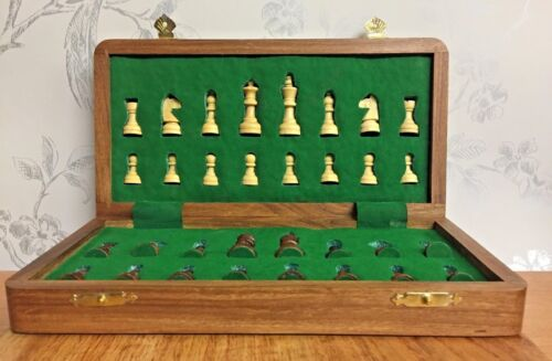 Sheesham Rosewood Handcrafted Med Magnetic Travel Chess Set Board & Pieces 105
