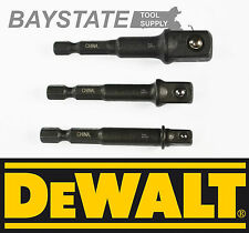 "DeWalt Socket Adapter Set Hex Shank to 1/4"",3/8"",1/2"" Impact Driver/Drill Ready"