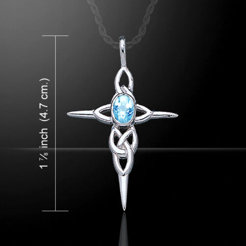 Celtic Knotwork Cross with Gemstone .925 Sterling Silver Pendant by Peter Stone