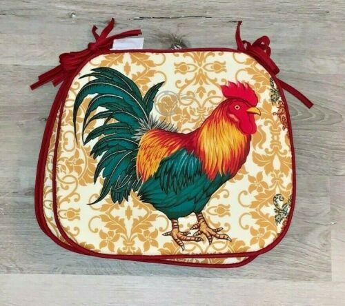 Country Farm House Red Rooster Cafe Dining Kitchen Chair Cushions Pads Set 4