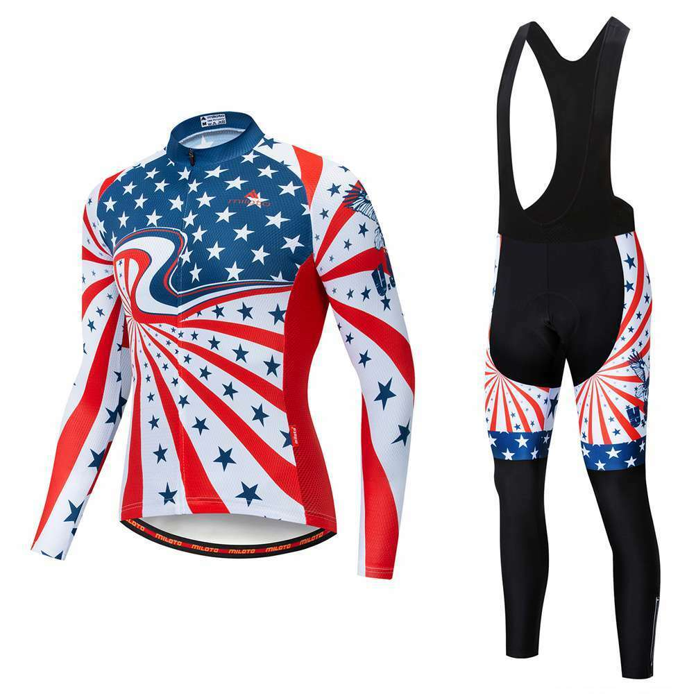 Miloto Team Cycling Clothing Long Sleeve Cycle Jersey and Padded (Bib) Pants Kit