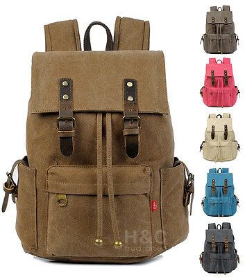 Canvas Outdoor Travel Rucksack Camping Hiking Laptop Book School Bag Backpack