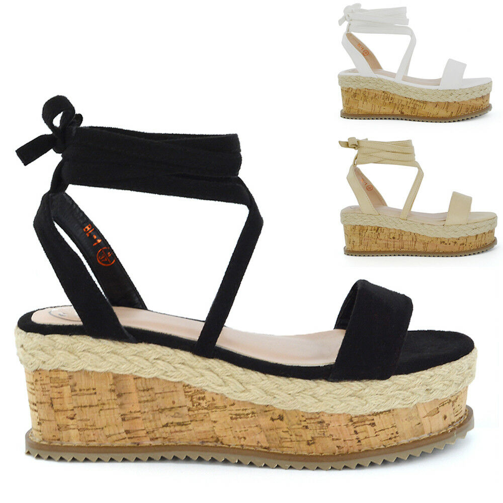 Womens Lace Up Wedge Heel Sandal Espadrilles Ladies Gladiator Flatform Shoes 3-8