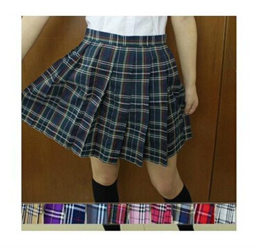 School Girl Uniform Plaid Pleated Mini Lattice Grid Skirt Cheerleader Cute Dress