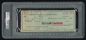 James D. Norris (d. 1966) signed autograph Check Hockey HOF PSA/DNA Slabbed