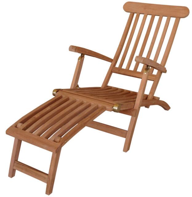 KMH Teak Deckchair Sonnenliege Gartenliege Relaxliege Liegestuhl ...