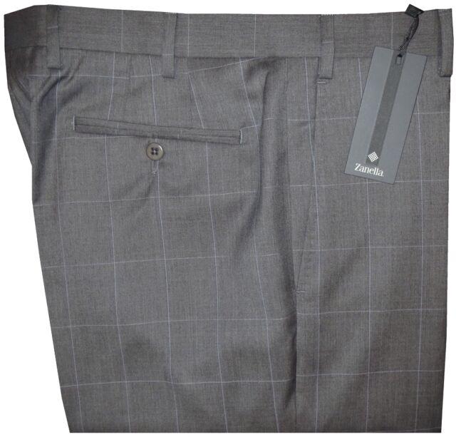$425 NEW ZANELLA NORDSTROM DEVON HEATHER GRAY WINDOWPANE 130'S DRESS PANTS 36