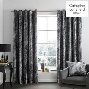Catherine Lansfield Marble Velvet Luxury Lined Eyelet Curtains Charcoal Grey