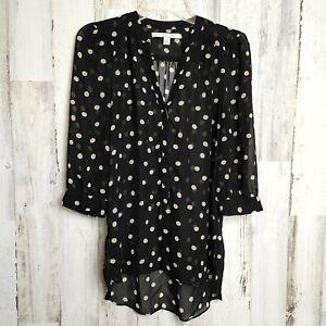 Lauren Conrad Women's Size Small Blouse Sheer Black White Polka Dot 3/4 Sleeves