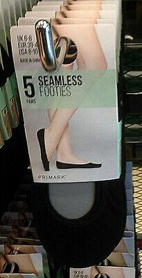 Seamless Footies 5pk Black Invisible socks BNWT Sizes 3-5UK