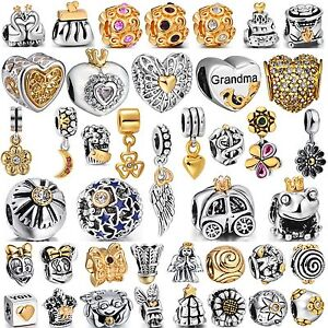 Hot-Jewelry-Plated-Gold-European-Bead-Silver-Charms-Fit-Authentic-925-Bracelets