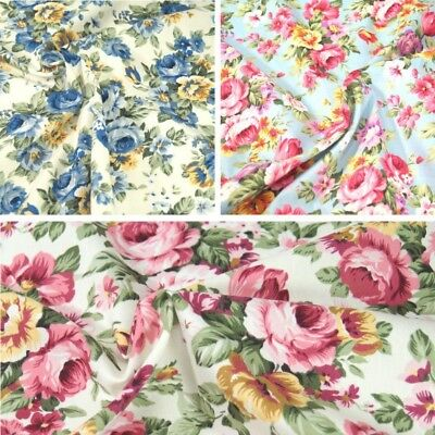 Fabric Freedom Perfect Occasion Pink Roses Flowers 100/% Cotton Poplin Fabric