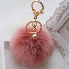 Prada Cell Phone Car Keychain Pendant Handbag Key Ring Rabbit Fur Ball PomPom uf