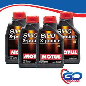 4 Litri Motul 8100 X-Power 10W60 Olio Motore 100% Sintetico ACEA A3 B4 API SN