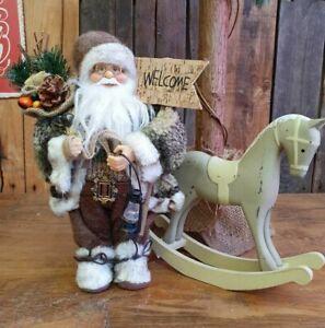 Weihnachtsmann  30 cm mit Laterne  Schild & Sack  Dekoration Deko Figur Nikolaus