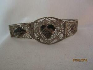 Vintage Egyptian Silver Filigree Niello Accents Fancy Link