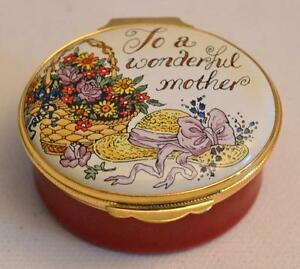 "Crummles & Co. English Enamels ""To A Wonderful Mother"" Trinket Box"