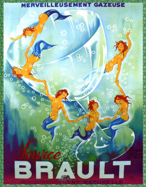 Choose Paper or Canvas POSTER.Champagne Brault Mermaids have fun.Art decor.q141