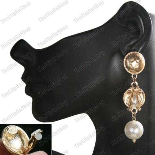 Gran gran Pearl Egipcio Revival Pendientes Estilo Vintage Oro Moda Escarabajo