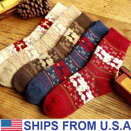 Christmas Socks Snowflake Wool Winter Warm Womens Gift Xmas Cute Deer Plush
