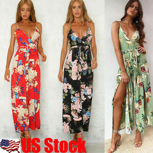 3002ca3a09cc Image is loading Womens-Floral-V-Neck-Jumpsuit-Playsuit-Summer-Beach-
