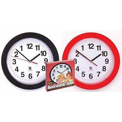 NEW Backwards Wall Clock Funny Novelty Time Clock Decor Gag Gift Reverse Turn