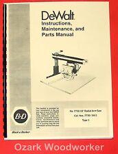 Dewalt Powershop 7730 10 Radial Arm Saw Instruction Amp Parts Manual 0256