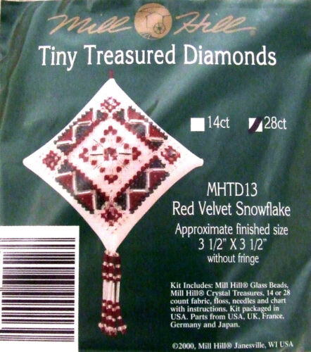 """Mill Hill point de croix perles Kit Noël /""""rouge flocon de neige/"""" TD13"""